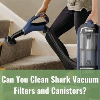 Person using a handheld vacuum cleaning carpet stair steps