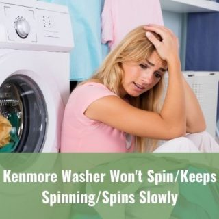 Female sitting on ground waiting for wash machine to finish cycle